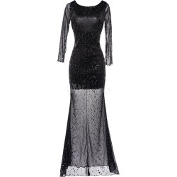 Maxi Black Dress Sequin Long Sleeve Women's Semi Sheer Backless Long Party Dresses