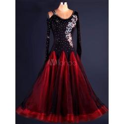 Salsa Dance Costume Organza Two Tone Beaded Long Sleeve Ballroom Dancer Costume found on Bargain Bro India from Milanoo.com Ltd for $159.99