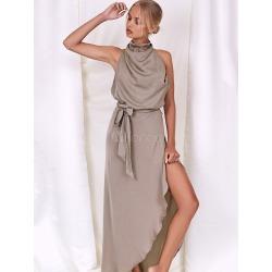 Maxi Dress Women Halter Sleeveless Asymmetrical Draped Backless Khaki Long Dresses