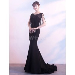 4cb01cccbb Black Evening Dresses Tassels Beading Satin Mermaid Prom Gown Round Neck  Formal Dress With Train found