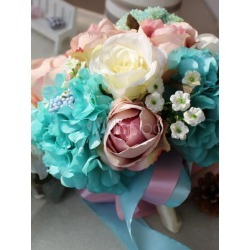 Blue Wedding Bouquet Flower Silk Ribbons Multicolor Bridal Cascading Bouquets found on Bargain Bro India from Milanoo.com Ltd for $68.99