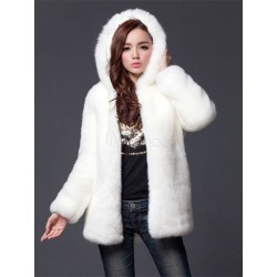 Faux Fur Coat White Hooded Long Sleeve Women's Winter Coats
