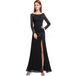 Black Evening Dresses Lace Sexy High Split Illusion Long Sleeve V Back Floor Length Formal Dresses found on MODAPINS from Milanoo.com Ltd for USD $119.99