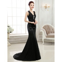 Black Evening Dresses Lace V Neck Sleeveless Backless Beading Formal Gowns With Train found on MODAPINS from Milanoo.com Ltd for USD $149.99
