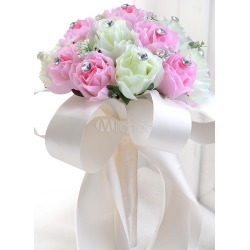 Pink Wedding Bouquet Silk Flowers Rhinestones Ribbons Hand Tied Bridal Bouquet found on Bargain Bro Philippines from Milanoo.com Ltd for $19.99