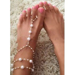 Bohemian Wedding Shoes White Pearl Layered Anklets