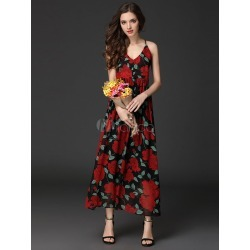 Red Long Dress V Neck Sleeveless Chiffon Floral Print Backless Maxi Dresses For Women