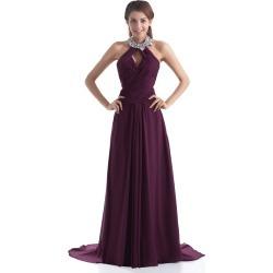 Sexy Grape Chiffon Rhinestone Halter Fashion Evening Dress