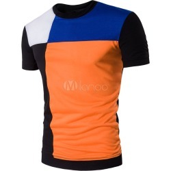 Orange Men's T Shirt Short Sleeve Printed Color Block Summer Tee Shirt Tops