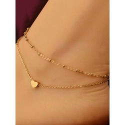 Gold Ankle Bracelets Sweetheart Foot Chains Women's Tiered Beach Anklets