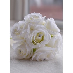 Wedding Flowers Bouquet White Rhinestone Ribbons Hand Tied Silk Flowers Bridal Bouquet found on Bargain Bro Philippines from Milanoo.com Ltd for $10.99