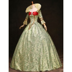 Royal Retro Costume Women's Victorian Ball Gown Jacquard Floral Green Ruffle Tiered Vintage Princess Costume Halloween