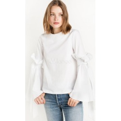 Women White Blouse Ruffle Lace Up Pleated Women Spring Top