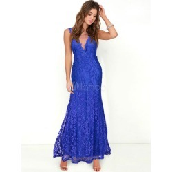 Lace Maxi Dresses Blue V Neck Backless Sleeveless Women's Summer Long Dress