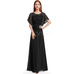 Black Evening Dresses Lace Sequin Mother Of The Bride Dress Short Sleeve Floor Length Formal Dress found on MODAPINS from Milanoo.com Ltd for USD $169.99