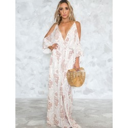 White Long Dress Silk Cold Shoulder V Neck Long Sleeve Backless Sexy Maxi Dress