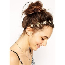 Women's Gold Headband Flower Chains Alloy Hair Accessories found on Bargain Bro India from Milanoo.com Ltd for $3.99