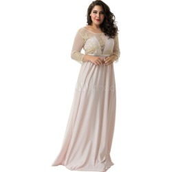 Plus Size Dress Lace Embroidered Long Sleeve Scoop Neck Backless Women's Maxi Dresses
