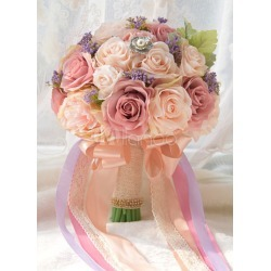 Wedding Flower Bouquet Champagne Ribbons Hand Tied Silk Flowers Bridal Bouquet found on Bargain Bro India from Milanoo.com Ltd for $35.99