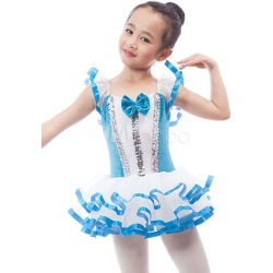 Ballet Dance Costume For Kids Blue Sequin Piping Bow Leotard Tutu Performance Dress found on Bargain Bro India from Milanoo.com Ltd for $85.99