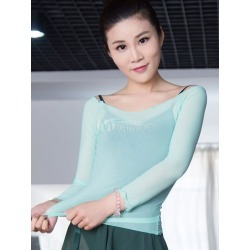 Ballet Dance Costume Top Women's Mint Green Long Sleeve Sheer Leotard Cover Ups found on Bargain Bro India from Milanoo.com Ltd for $15.99