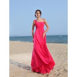 Hot Pink Evening Dress Chiffon One Shoulder Prom Dress Sleeveless Floor Length Formal Dress found on MODAPINS from Milanoo.com Ltd for USD $159.99