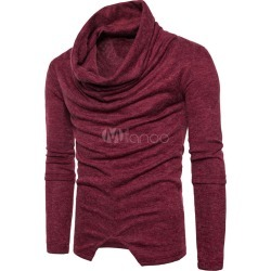 Burgundy Pullover Sweater Cowl Long Sleeve Ruched Regular Fit Cotton Sweater For Men