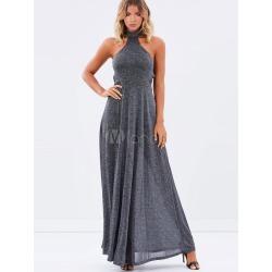 Halter Maxi Dress Grey Women's Backless Summer Long Dresses