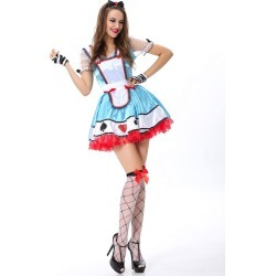 Halloween Costume Alice In The Wonderland Maid Costume Women's Color Block Blue Dress With Gloves Halloween