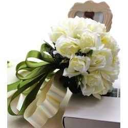 Wedding Flower Bouquet White Silk Flowers Ribbons Bridal Bouquets found on Bargain Bro Philippines from Milanoo.com Ltd for $33.99