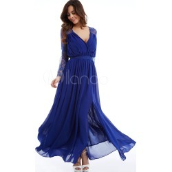 Women Maxi Dresses Chiffon Lace Long Sleeve V Neck Draped Backless Royal Blue Long Dress