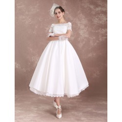 A-line Sweetheart Lace-up Lace Tea-Length Wedding Reception Dress ...