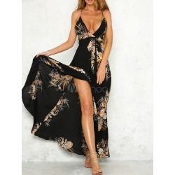Black Maxi Dress Plunging Neck Sleeveless Chiffon Floral Print Split Backless Women's Long Dresses