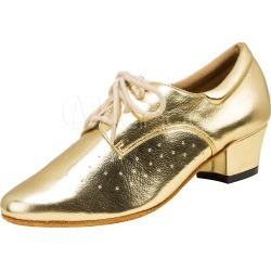 Gold Dance Shoes Women's Pointed Toe Chunky Heel Lace Up PU Ballroom Shoes