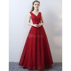 Burgundy Evening Dresses Lace V Neck Long Prom Dresses Sleeveless Bow Sash Floor Length Formal Dress found on MODAPINS from Milanoo.com Ltd for USD $139.99
