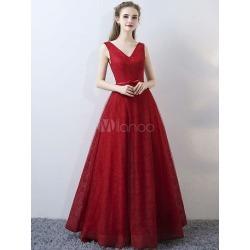 Burgundy Evening Dresses Lace V Neck Long Prom Dresses Sleeveless Bow Sash Floor Length Formal Dress found on MODAPINS from Milanoo.com Ltd for USD $139.99
