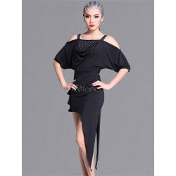 Latin Dance Costumes Black Short Sleeve Cold Shoulder Pleated Women's Dance Costumes