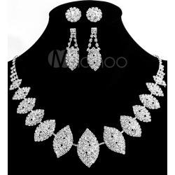 Bridal Jewelry Sets With Ear Studs Rhinestone Glittering Wedding Jewelry