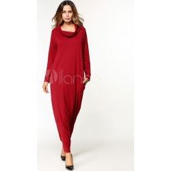 Red Kaftan Dress Women Long Sleeve Pockets Turtleneck Maxi Dress