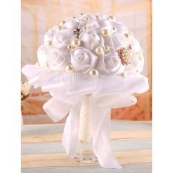 Rhinestone Wedding Flower Pearl Studded White Satin Bouquet ( 25 Cm X 18 Cm) found on Bargain Bro Philippines from Milanoo.com Ltd for $39.99
