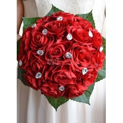 Wedding Flowers Bouquet Red Rhinestones Ribbons Bow Hand Tied Silk Flowers Bridal Bouquet found on Bargain Bro India from Milanoo.com Ltd for $27.99