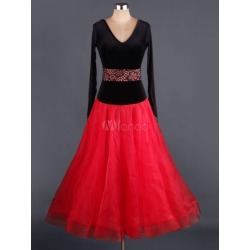 Ballroom Dance Dress Organza V Neck Backless Pleated Contrast Flare Ballroom Dancing Costume found on Bargain Bro India from Milanoo.com Ltd for $140.99