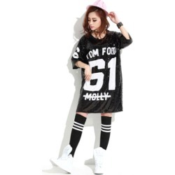 Sequined Dance Costumes Black Printed 2018 Hip Hop Clothing Dance Costume