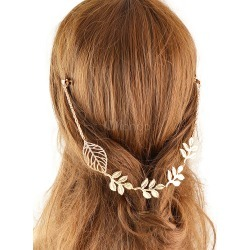 Women Golden Headband Leaf Embossed Alloy Hair Accessory found on Bargain Bro India from Milanoo.com Ltd for $2.99