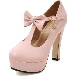 Pink High Heels Platform Women's Round Toe T Type Bandage Bow High Heel Shoes