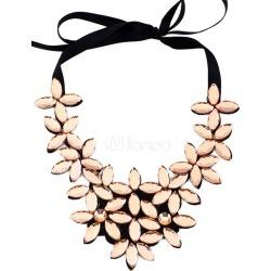 Gold Statement Necklace Women's Flowers Shape Lace Up Necklace