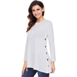 White T Shirt Long Sleeve Round Neck Buttons Women Top