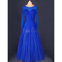 Blue Ballroom Dace Dress Round Neck Patchwork Bodycon Flare Swing Ballroom Dancing Costume found on Bargain Bro India from Milanoo.com Ltd for $100.99