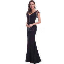 Black Evening Dress Mermaid V Back Chains Short Sleeve Formal Dress With Train found on MODAPINS from Milanoo.com Ltd for USD $149.99