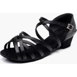 Latin Dance Shoes Black Ballroom Shoes Black Open Toe Criss Cross Dancing Shoes For Kids